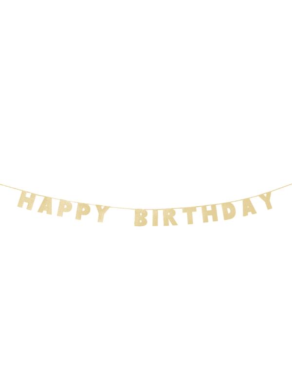 Guirlande Happy Birthday à paillettes dorées