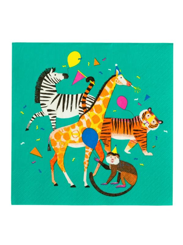 Serviettes animaux en fête