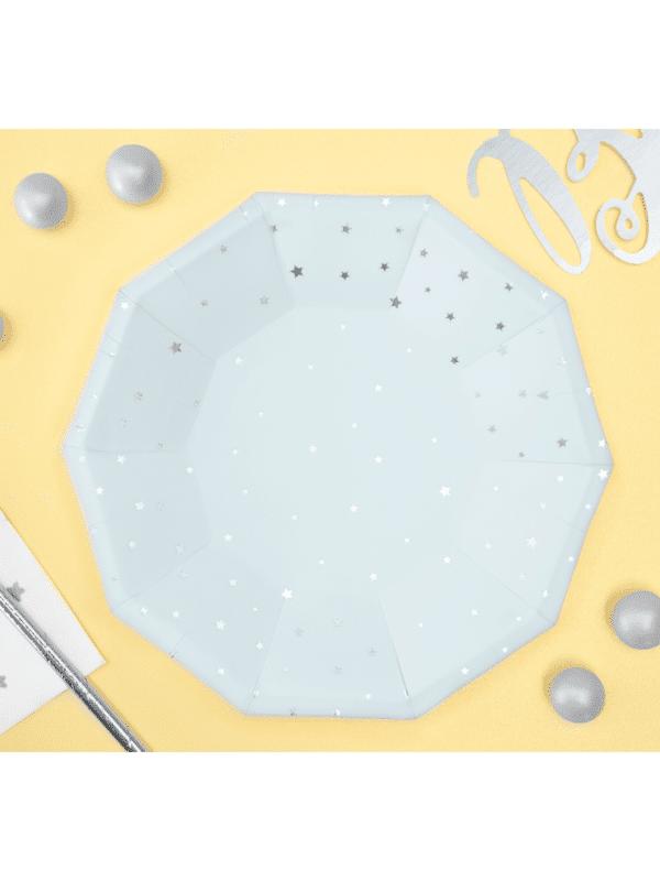 assiettes bleu étoiles argent