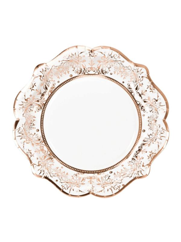 assiettes porcelaine rose gold