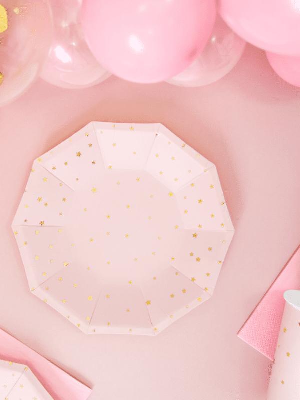 assiettes rose étoiles dorées