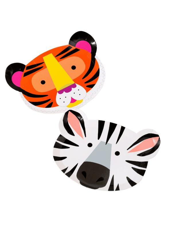 assiettes animaux zèbre tigre