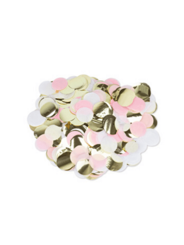 confetti rose blanc et doré fête fille
