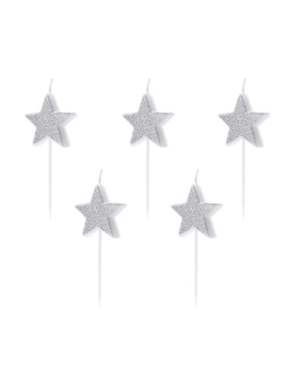 bougies étoile argent