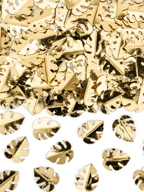 Confettis feuilles tropicales gold