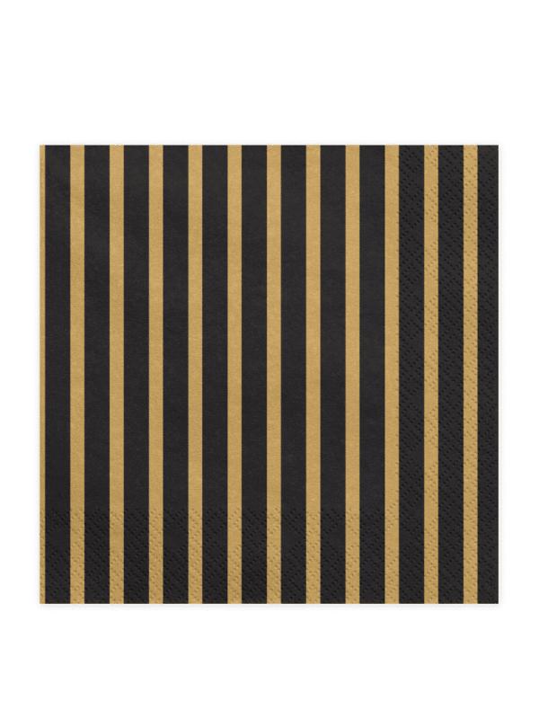 Serviette rayées noir et doré