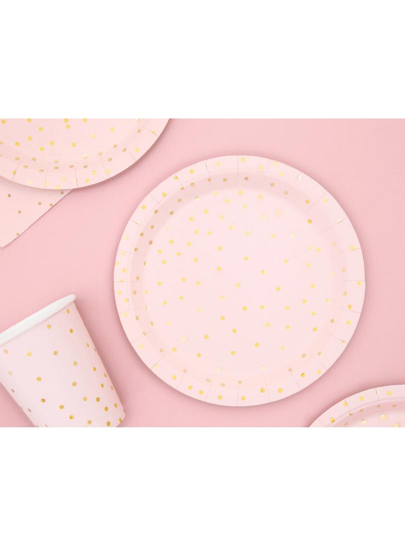 assiette rose à pois dorée minnie