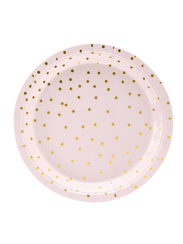 assiette rose à pois dorée