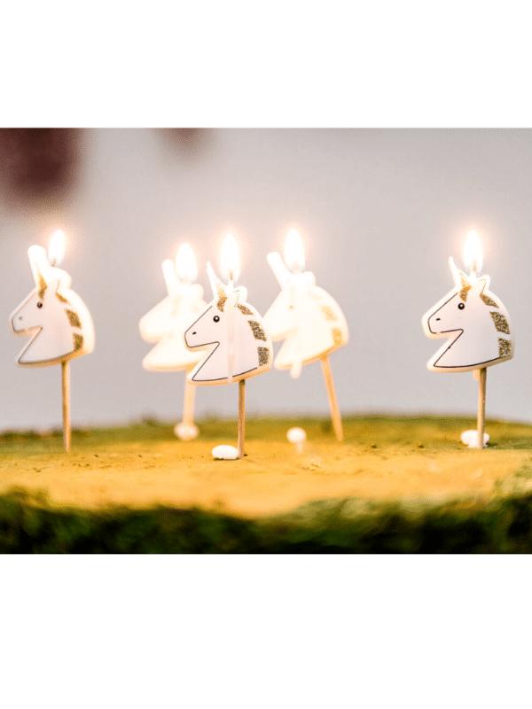 bougies à paillettes jolie licorne