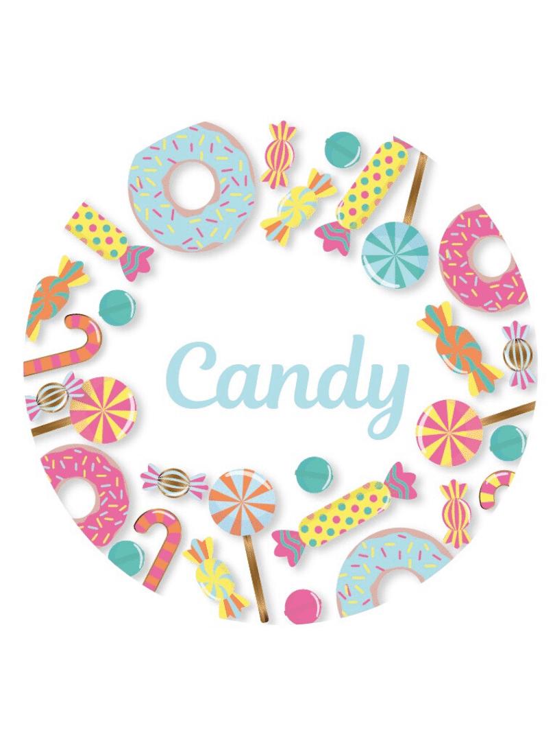 Décorations de fête anniversaires enfants personnalisables candy pastel bonbons