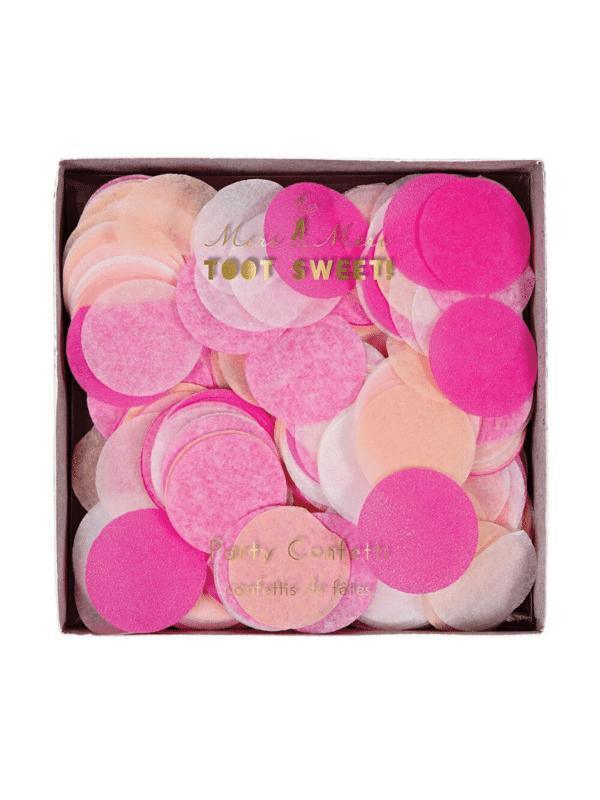 confettis ronds rose blanc et corail