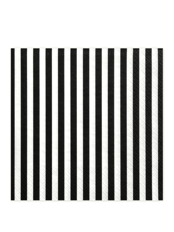 serviettes rayés noir et blanc