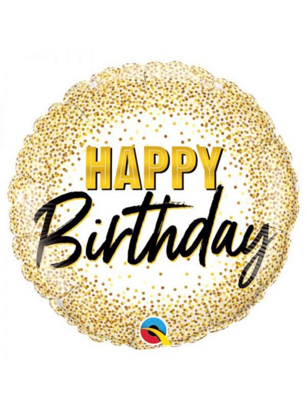 ballon happy birthday pois dorés crealoca