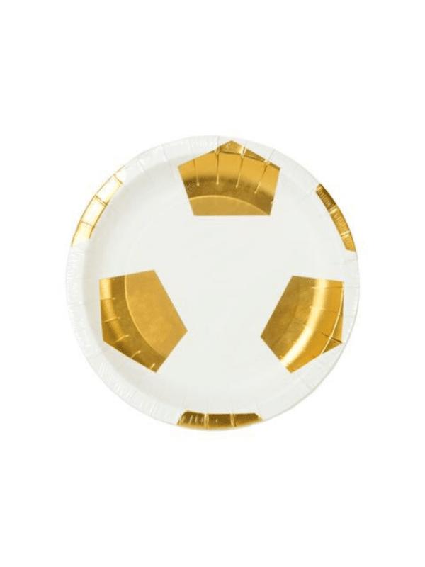 assiettes foot blanc et doré