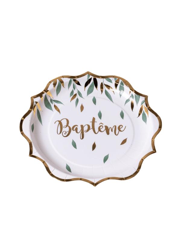 assiettes baptême végétal