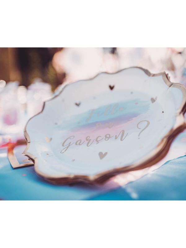 assiettes gender reveal bleu rose et doré