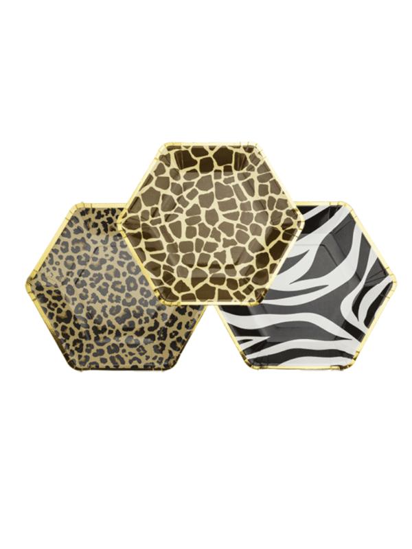 assiettes léopard safari zèbre et girafe décoration de fête tendance
