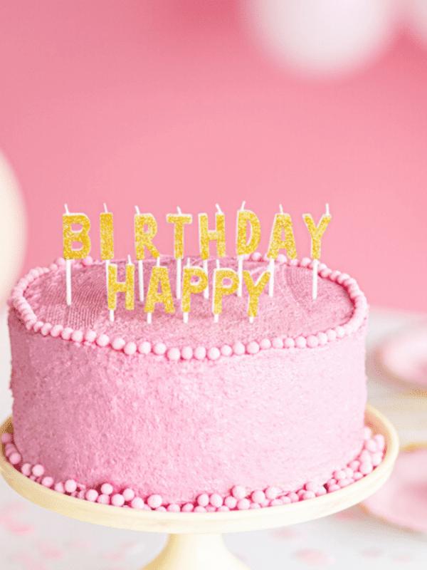 bougie happy birthday dorées gâteau