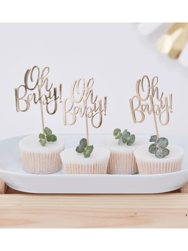 cake topper oh baby doré baby shower crealoca