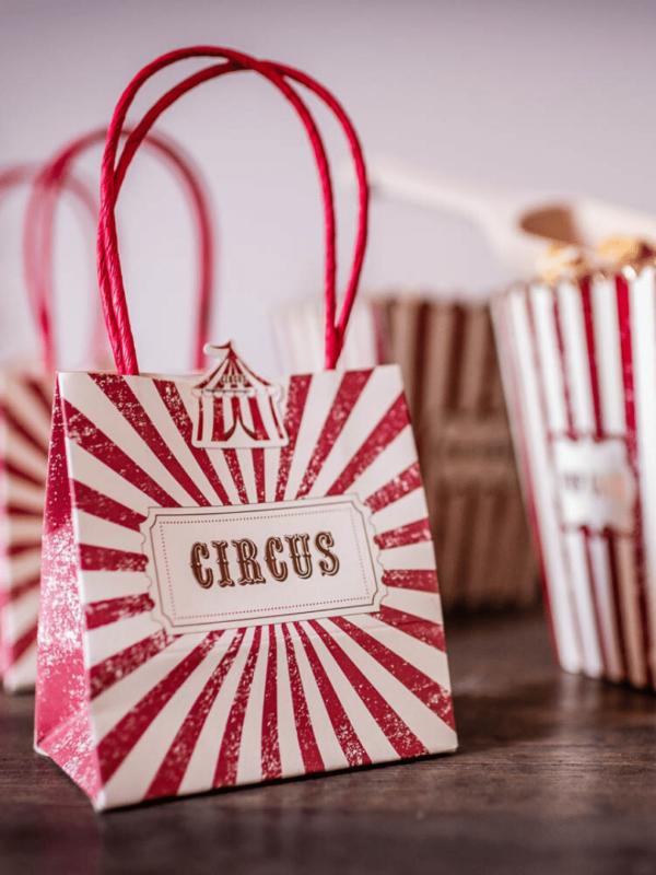 sacs cadeaux cirque vintage festonné