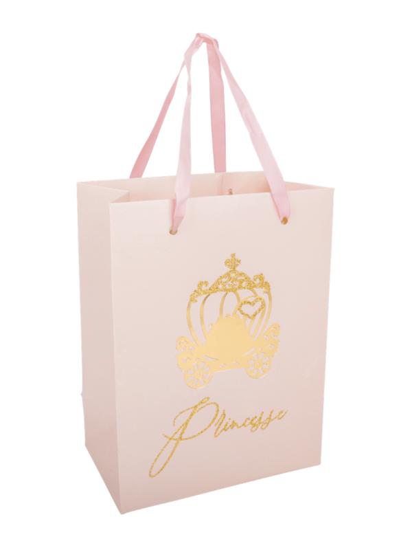 sacs cadeaux princesse rose et or