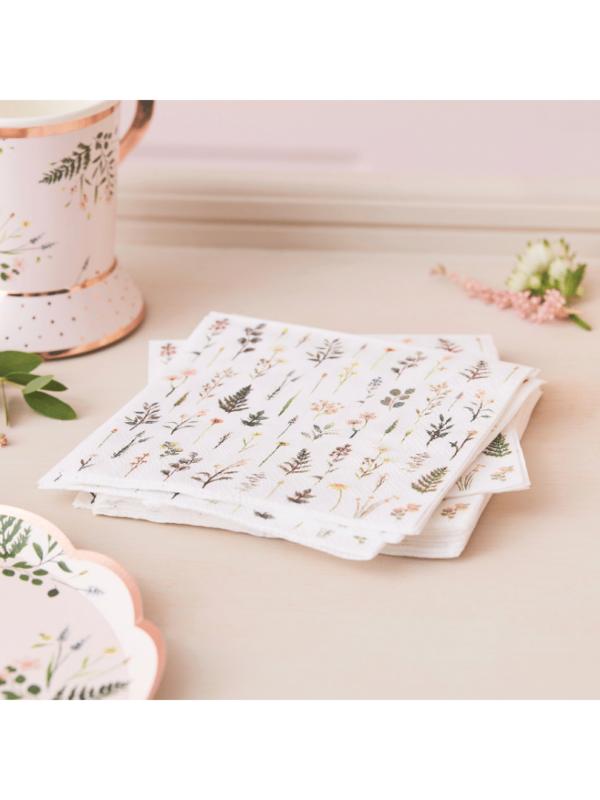 serviettes botaniques mariage bohème