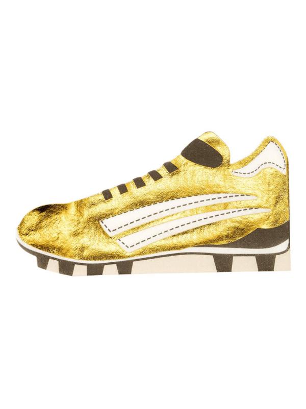 serviettes chaussure foot dorée