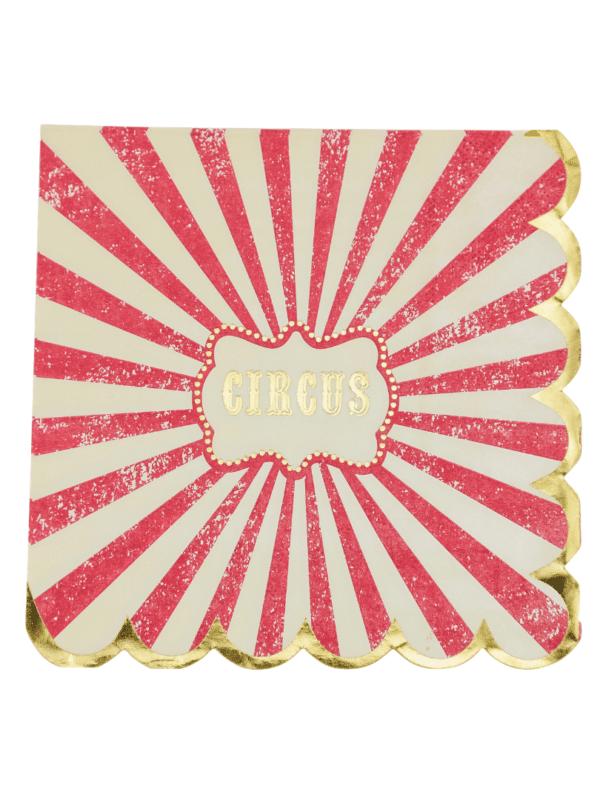 serviettes cirque vintage anniversaire