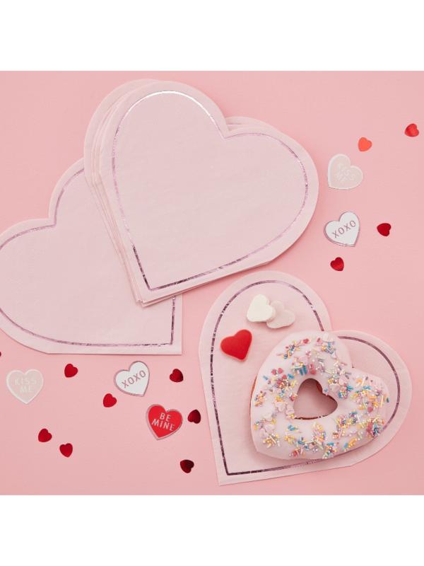 serviettes cœur rose et rose gold tendance