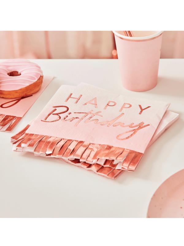 serviette happy birthday rose gold crealoca