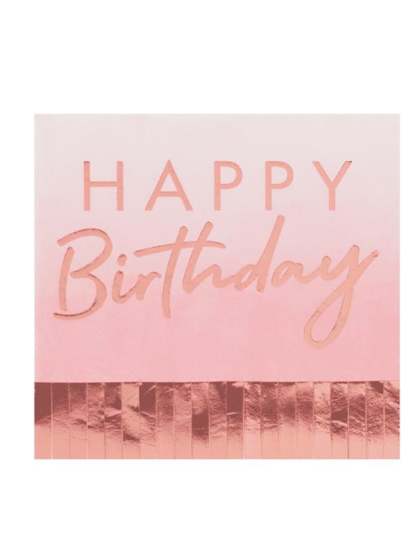 """serviettes """"happy birthday"""" à franges rose gold crealoca"""