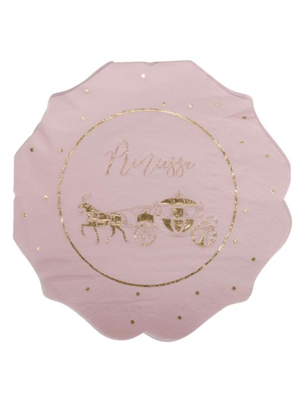 serviettes princesse rose et or anniversaire