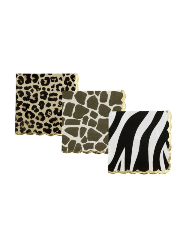 serviettes Léopard safari zèbre girafe décoration tendance