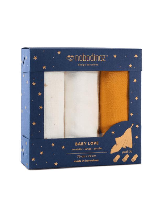 lot de 3 langes baby love yellow nobodinoz coton bio idée cadeau naissance enfant bébé