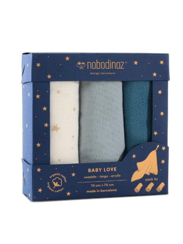 lot de langes baby love blue nobodinoz coton bio idée cadeau naissance bébé