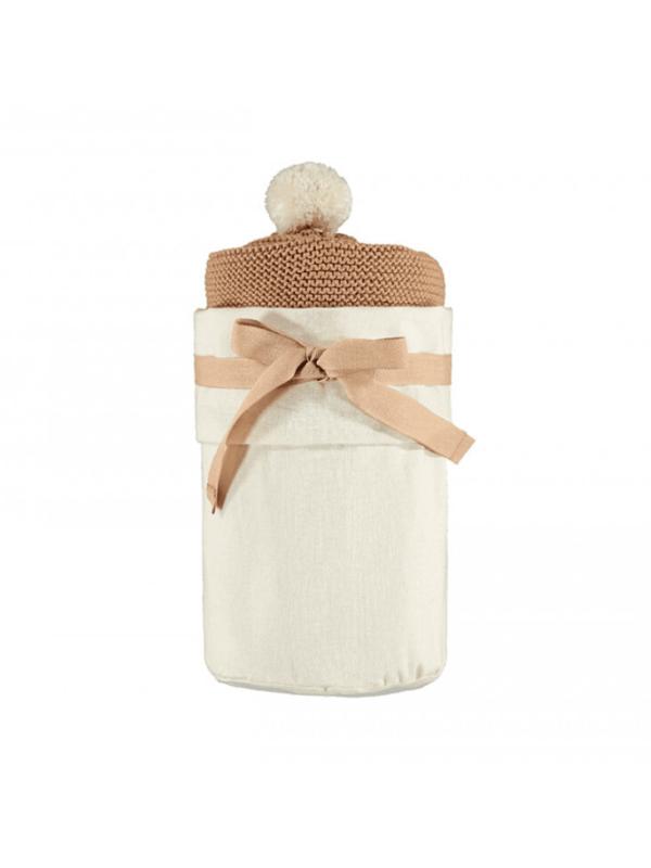 cape bébé so natural tricot biscuit coton bio couverture bébé naissance cadeau