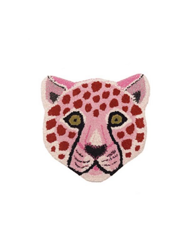 tapis tête de léopard rose doing goods laine décoration enfant