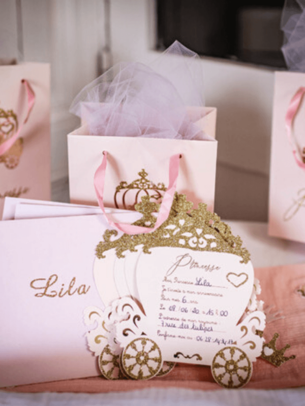 Invitations Princesse rose et paillettes or
