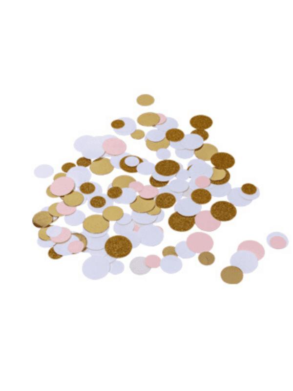 Confettis rose blanc et or décoration fête fille