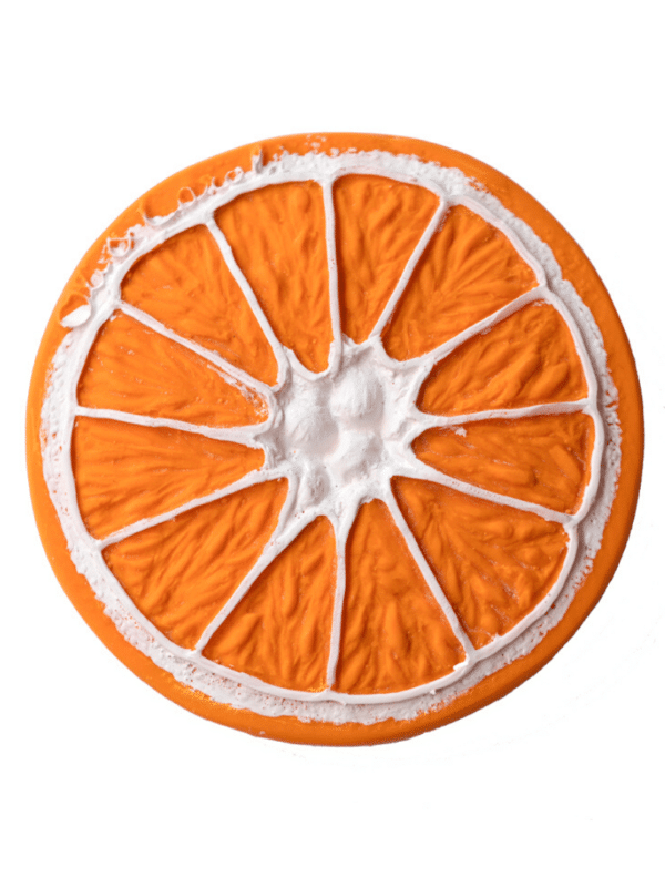 jouet de dentition clementino l'orange 100% caoutchouc naturel
