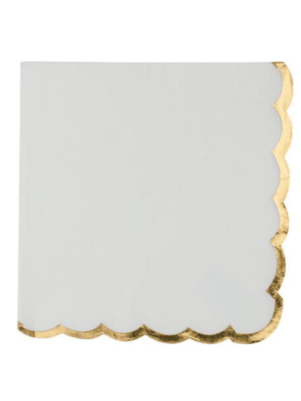 Serviettes blanc et liseré or décoration fête bapteme