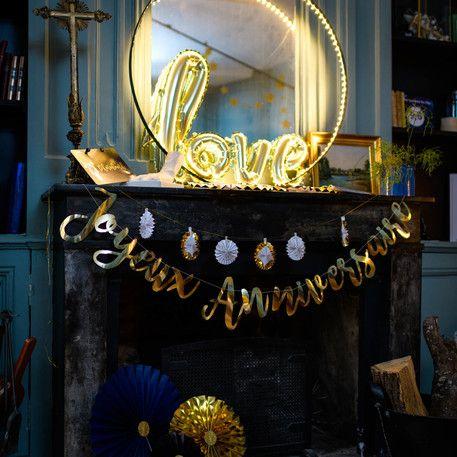 Guirlande Joyeux anniversaire or metallisé dorée