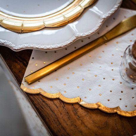 Serviettes pois dorés blanche fête tendance