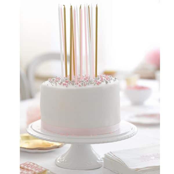 longue bougie rose doré talking table décoration gateau anniversaire