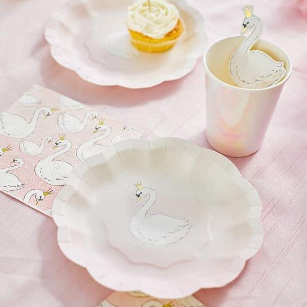 assiette serviette cygne talking table anniversaire 1 an swan