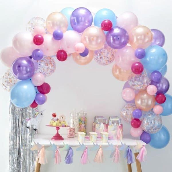 kit arche ballon pastel anniversaire sirene licorne