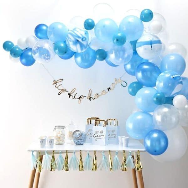 kit arche ballon bleu blanc babyshower bapteme anniversaire 1 an
