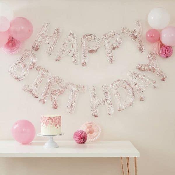 guirlande ballon happy birthday rose gold
