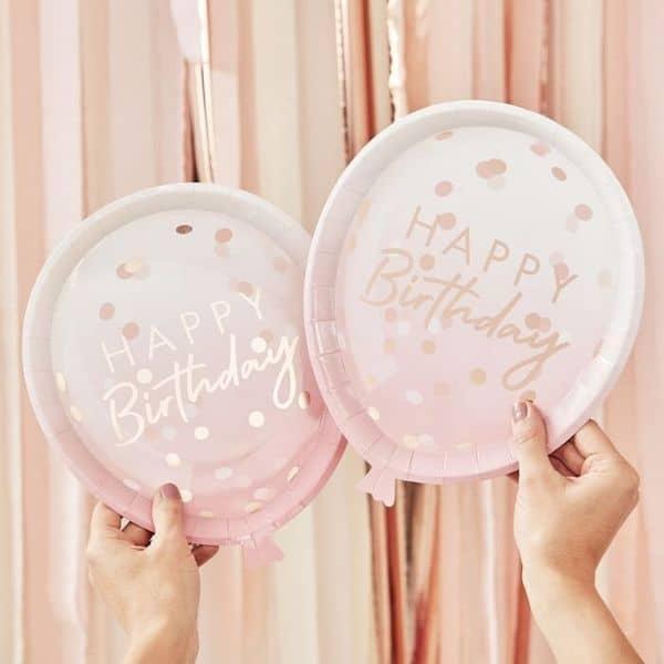 assiette ballon happy birthday rose ginger ray