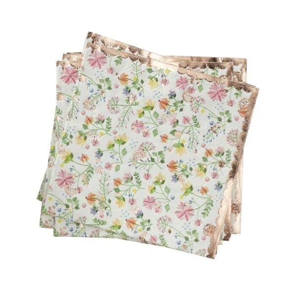 serviette fleurie rose gold anniversaire evjf babyshower décoration fille crealoca